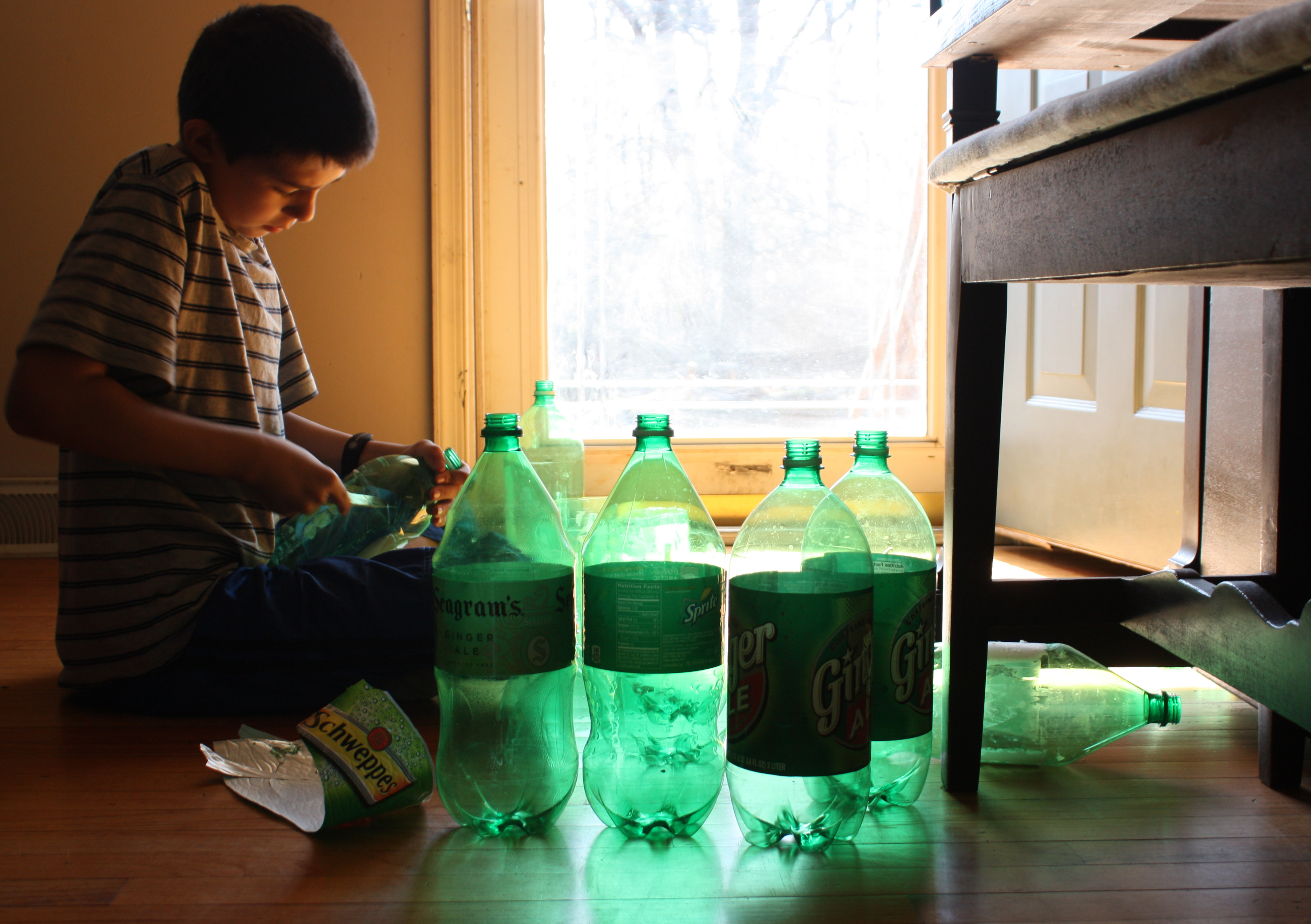 Recycling old soda bottles.