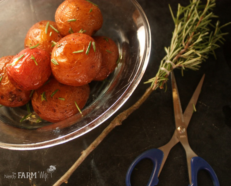 roasted potates with rosemary basting brush