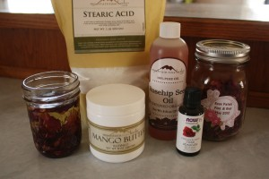 Ingredients for Rose Face and Body Cream