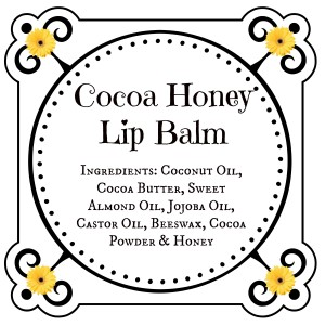 a label for cocoa honey lip balm