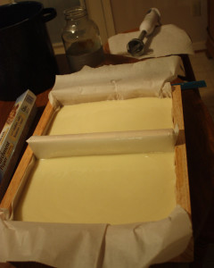 Quickly pour soap into molds