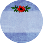 Blue Label With Red Flower