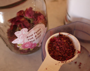 Grinding Rose Petals for Homemade Scouring Powder
