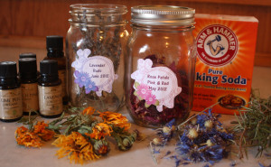 Ingredients to make homemade herbal scouring powders