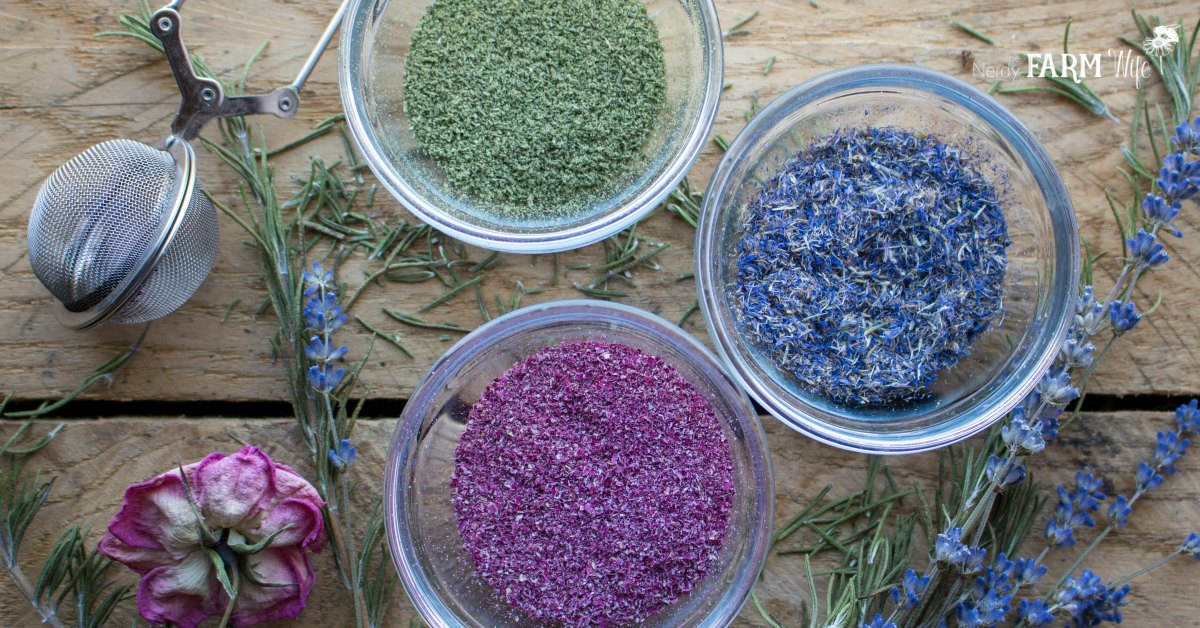 bowls of flower and herb powders