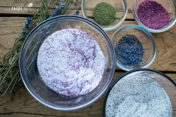 bowls of ground herbs and flowers mixed with baking soda