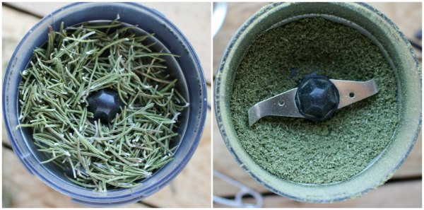dried rosemary in coffee grinder