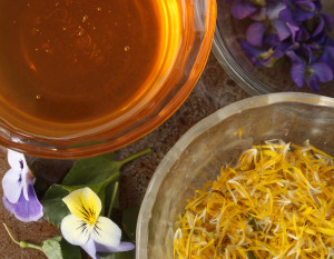 Spring Tonic Honey made with violets and dandelions