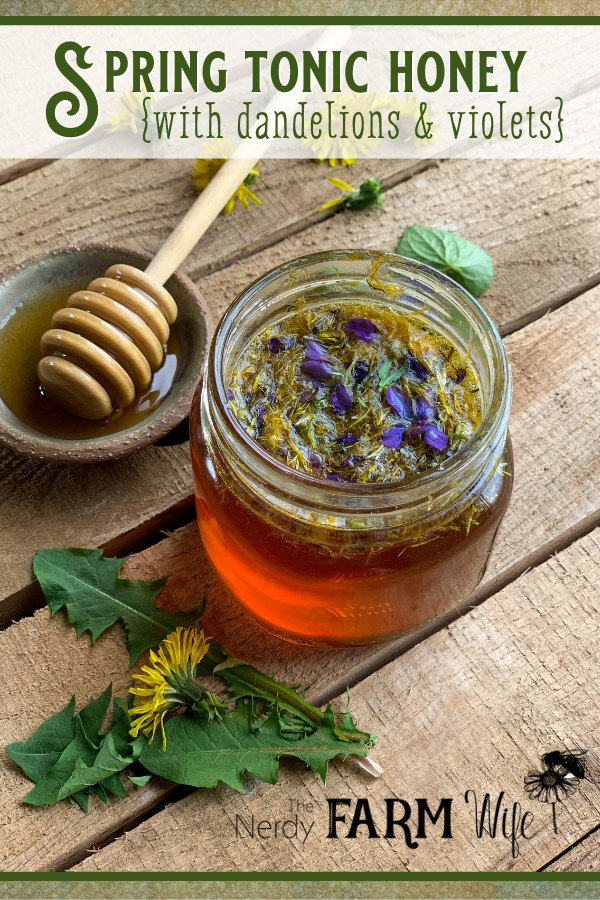 Raw Honey infused with dandelions and violets.
