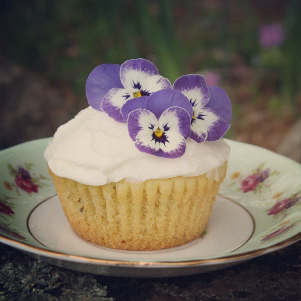 Dandelion Cupcakes with Violas on Top