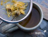 Straining Calendula Tea