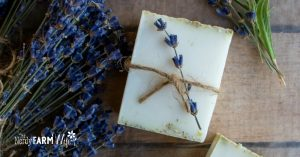 chamomile oatmeal soap favors and dried bundles of lavender