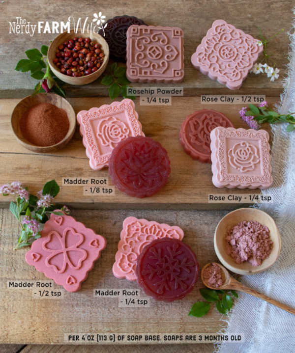 a display of melt and pour (glycerin) soaps naturally colored shades of pink and red with varying amounts of madder root powder, rose clay, and rosehip powder