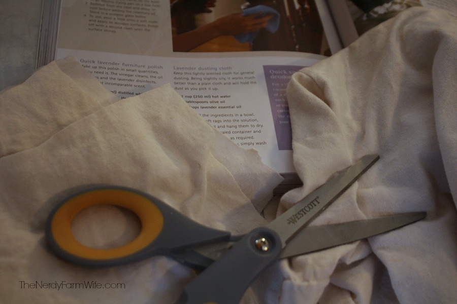 cut up an old t-shirt to make lavender dusting cloths