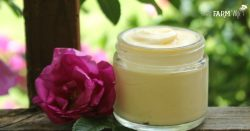 This all natural Aloe Rose Anti-Aging Skin Cream recipe features rose-infused aloe, rosehip seed oil, beeswax and shea butter.