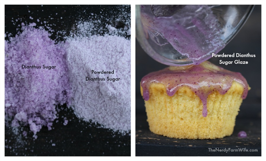 Naturally Colored Sugar made into powdered sugar and a glaze