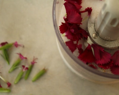 dianthus petals and sugar