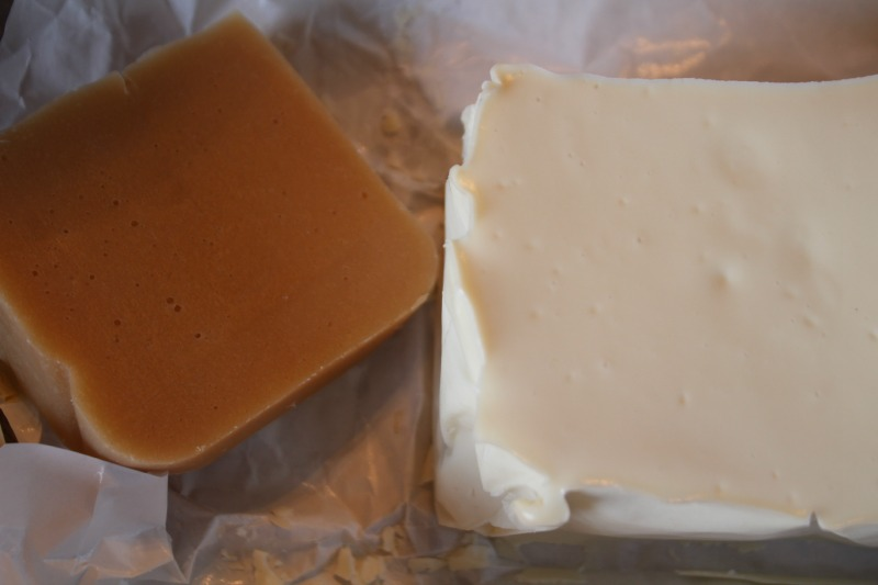 soap on left went through gel phase soap on right did not