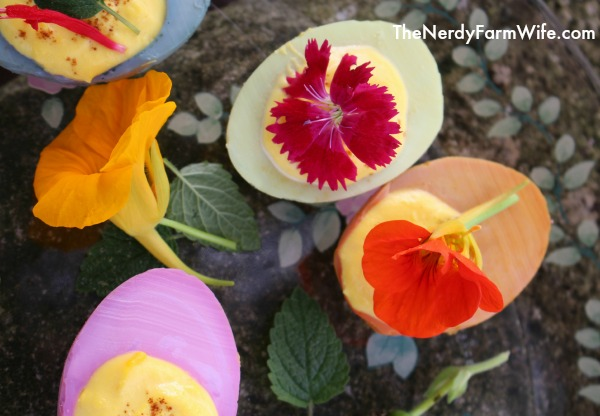 Natural Colored Deviled Eggs with Edible Flower Garnishes