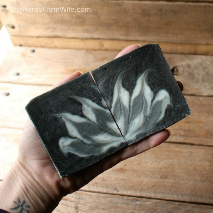 Activated charcoal colors this all-natural palm-free soap, designed with the Circling Taiwan Soap technique