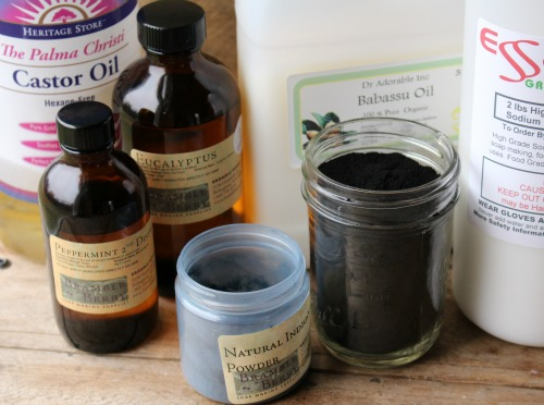 ingredients to make activated charcoal circling taiwan swirl soap