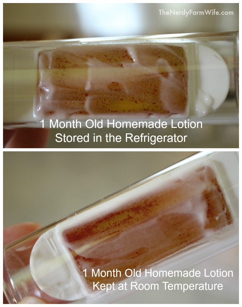 Comparison of 1 month old homemade lotion with no preservatives kept in the refrigerator versus room temperature