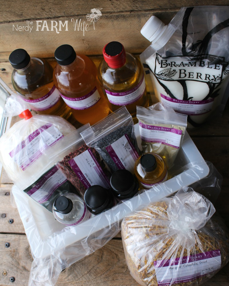 Ingredients in Annatto Yarrow Soap Making Kit