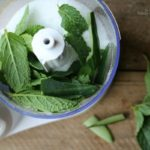 Blending fresh cucumber and mint with Epsom salt
