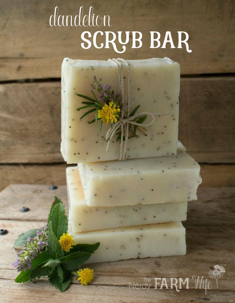 Dandelion Scrub Bar Soap Recipe (palm free) - perfect for gardeners!