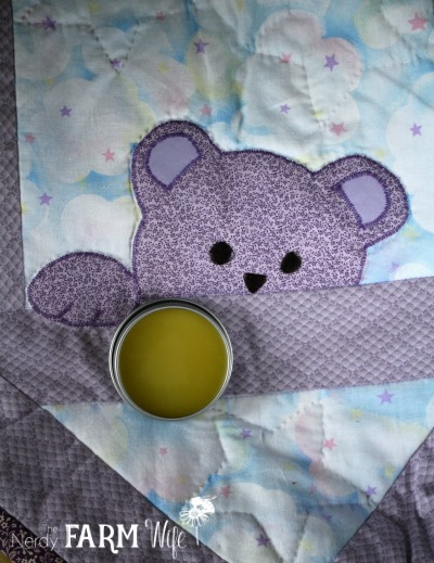 DIY Quilter's Salve with baby bear quilt