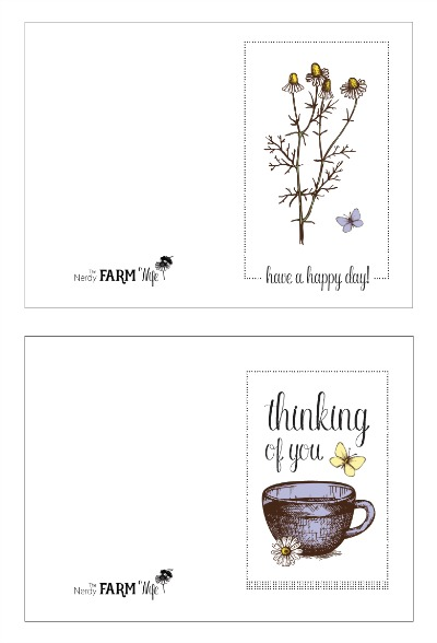 chamomile note cards you can print out