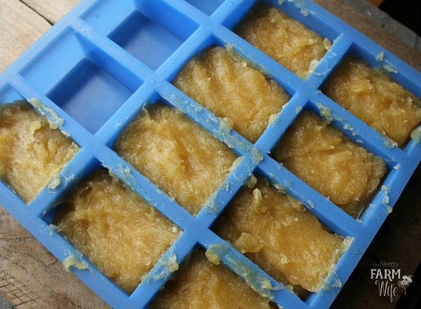 chamomile tea and honey shampoo bars in individual molds