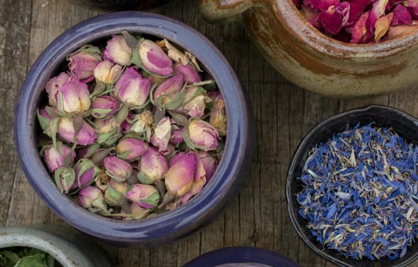 bowls of dried flowers