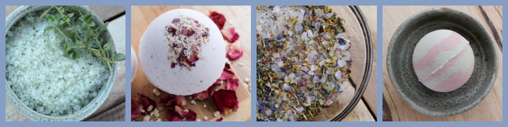 a bath bomb and floral bath soak