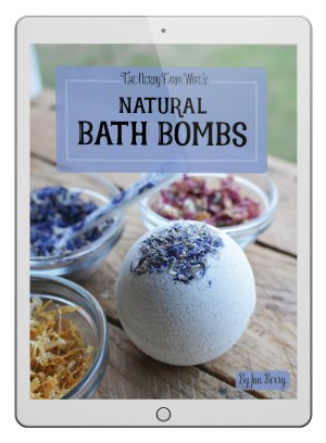 a cover of ebook that says Natural Bath Bombs