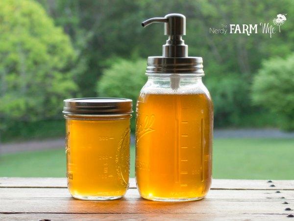 two jars of liquid soap