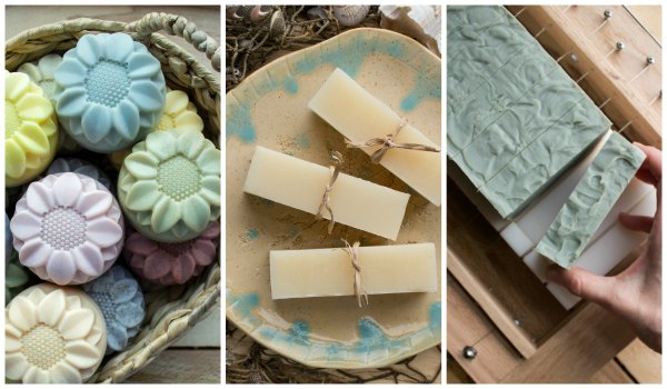 A row of photos of natural soaps