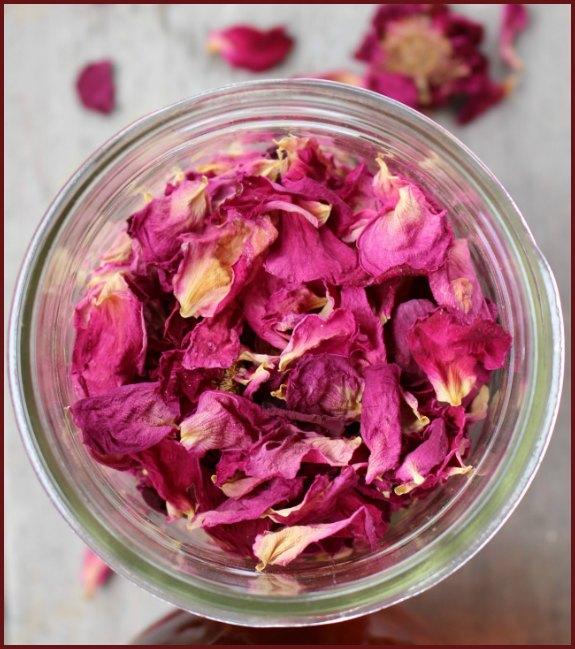 a jar of dried flower petals
