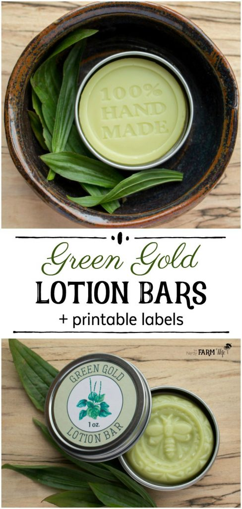 "These lotion bars feature plantain, a common leafy green weed that soothes damaged skin, and tamanu, an exceptional oil known for its skin repairing qualities. Tamanu oil (Calophyllum inophyllum) is sometimes referred to as ""green gold"",  and has a beautiful deep color to match, hence the name of these pretty lotion bars."