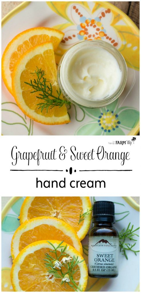 This DIY Grapefruit and Sweet Orange Hand Cream Recipe features an uplifting blend of essential oils and ingredients to help moisturize and protect dry skin.