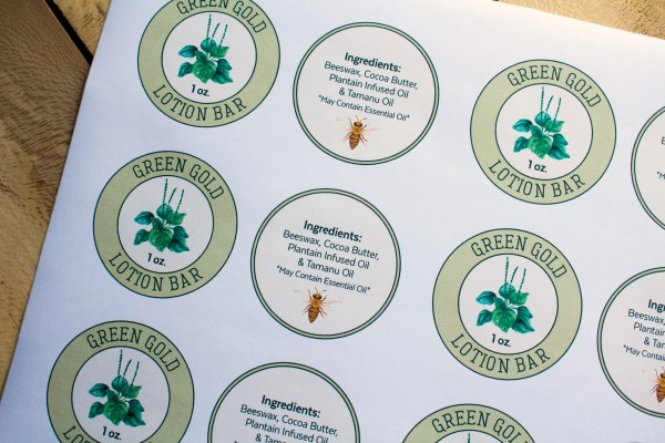 Green Gold Lotion Bar Labels