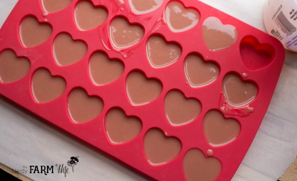 Make Hearts for the top of Valentine Soap
