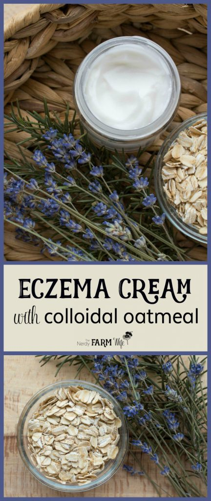 This soothing DIY eczema cream features colloidal oatmeal, sunflower oil and shea butter to help moisturize and protect itchy and inflamed skin.