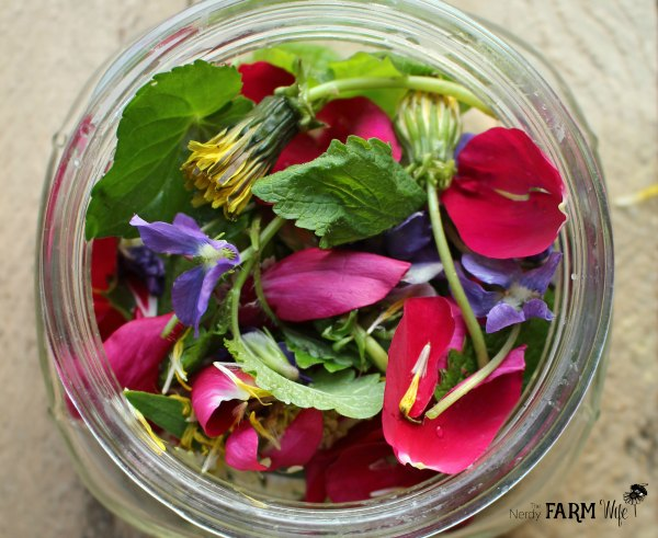 Jar of Spring Flowers & Herbs