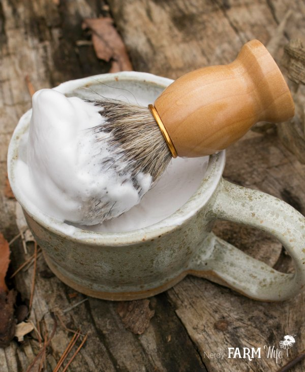 handmade shave soap in a shave mug with brush