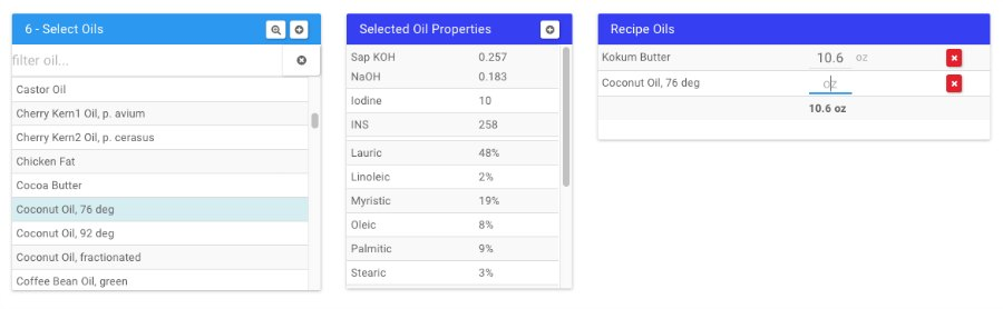 select oils in soapee lye calculator