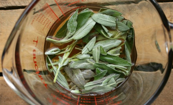sage leaves in vinegar