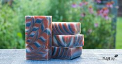 red, white and blue swirl soap