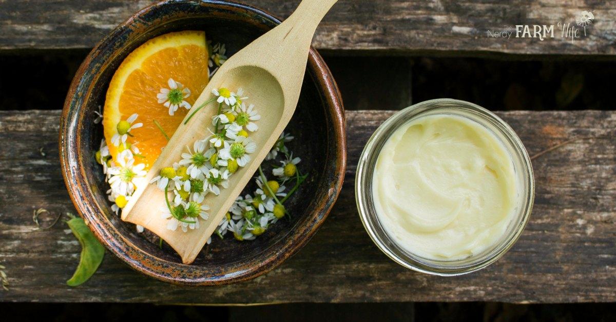 A jar of sweet orange chamomile deodorant