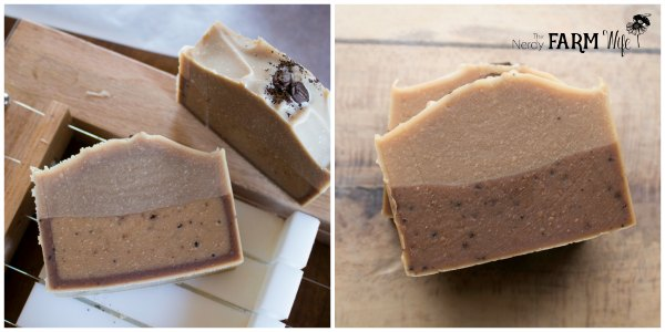 coffee soap with rind after cutting